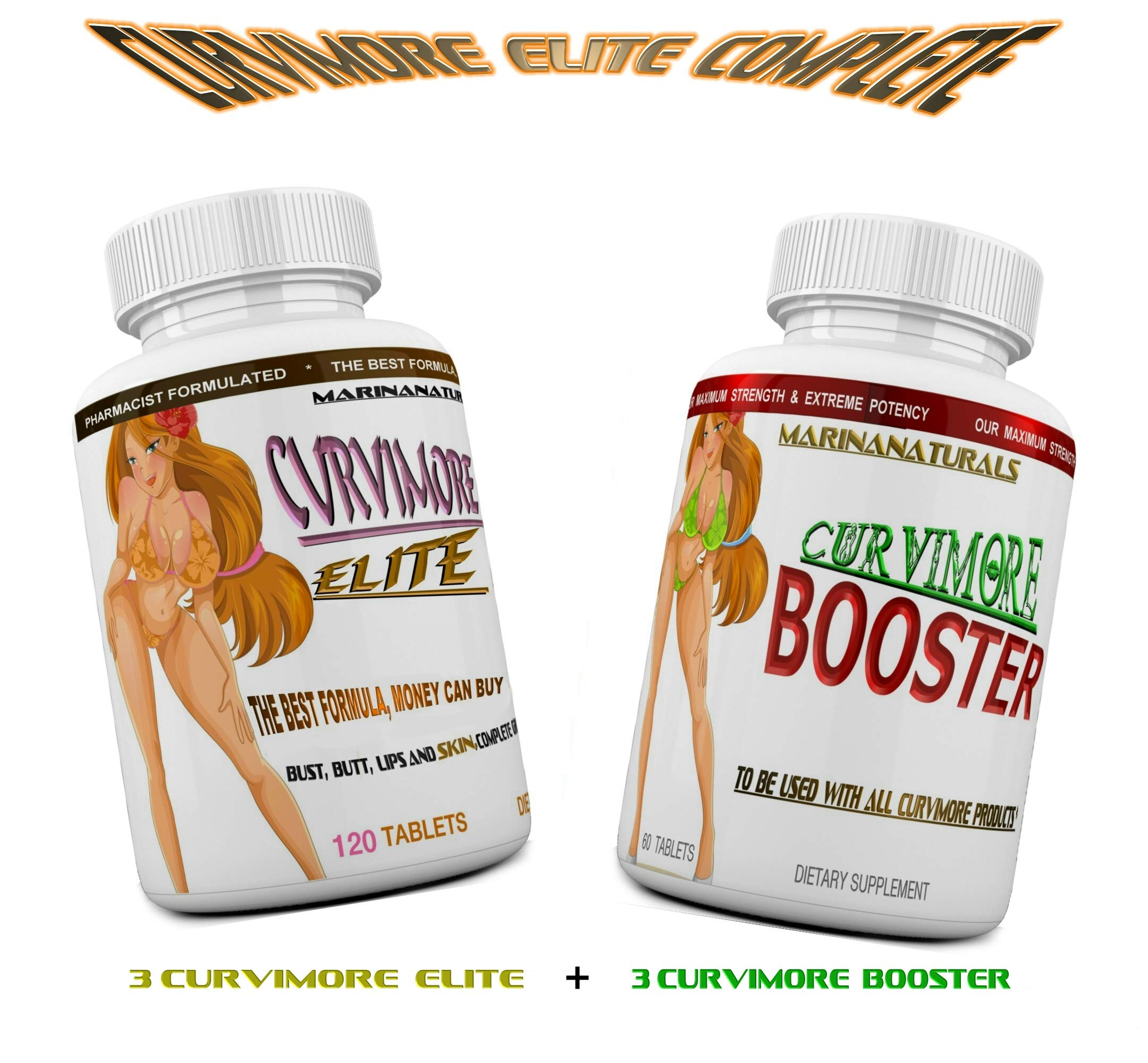 CURVIMORE Elite Complete ☀ Our Advanced Natural Breast Enlargement, Butt Enhancement, Bust Enhancement Lip Plumping & Skin Tightening Pills - Fuller Breasts, Booty & Brazilian Butts. 3-Month Course by MARINANATURALS (Image #1)