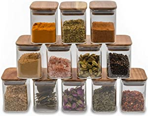 Laramaid Glass Jars Set, Square Spice Jars with Acacia Wood Lids and Customized Labels, 8oz 12 Piece Small Food Storage Containers for Home Kitchen, Spice, Herbs, Seasoning, Seed, Tea, Sugar, Salt
