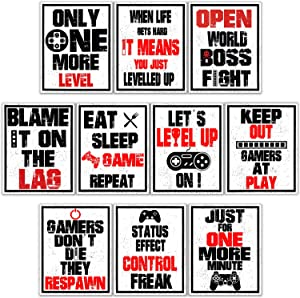 10 Pieces Funny Gaming Art Print Poster Inspirational Words Quote Poster Bedroom Wall Gaming Art Picture for Kids Boy Bedroom Playroom Home Decoration, No Frames (Red and Black, 8 x 10 Inch)