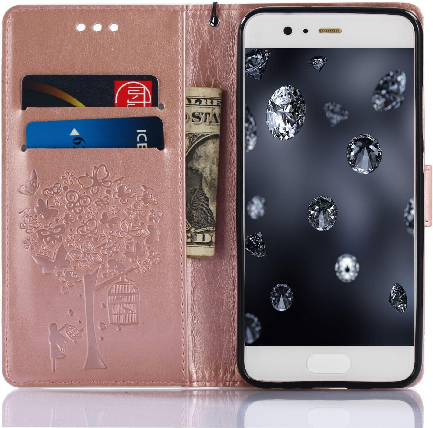 6 Palma Modello Aeeque 10 Albero e Ragazza 9 Mandala Fiori Portafoglio Stile del Libro PU Pelle Flip Smart Cover per Huawei P8 Lite 5.0 Pollici