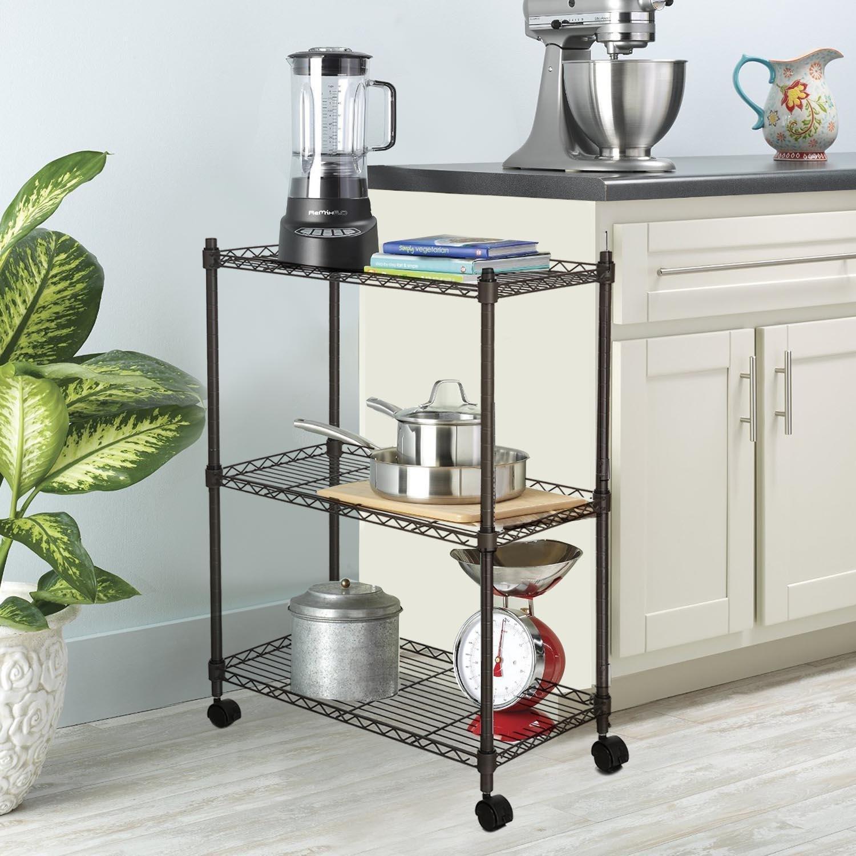 Wire Shelves, 3 Tier Adjustable Shelf Shelving Storage Rack for Kichchen Office Living Room Garage (Black)