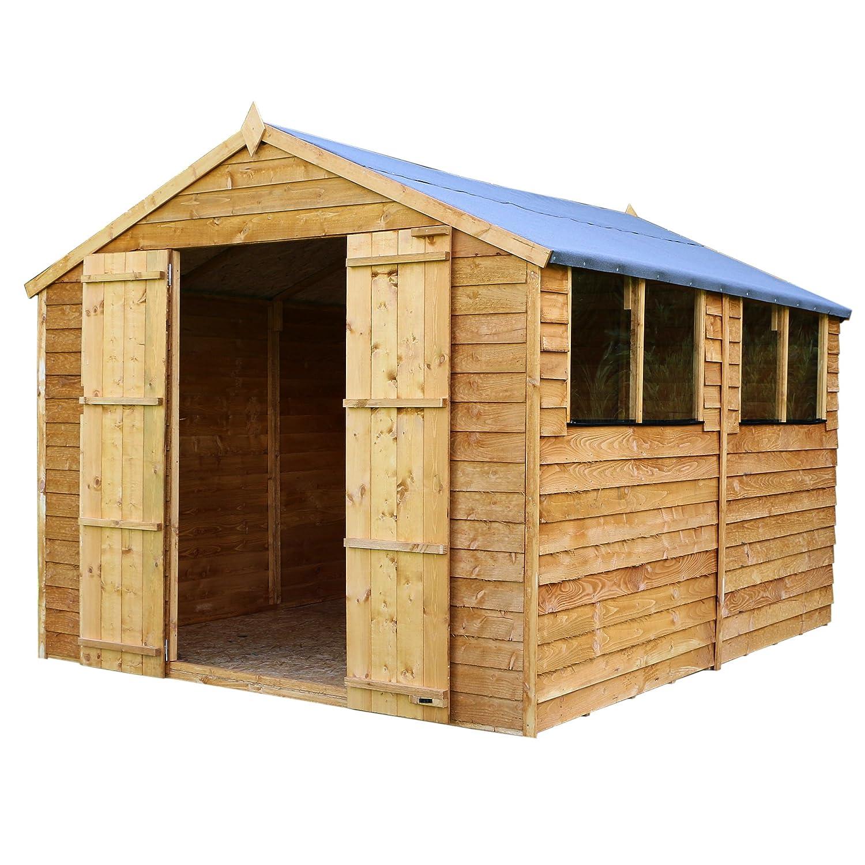 10x8 Overlap Wooden Garden Shed   Windows Double Doors Apex Roof Felt   By  Waltons: Amazon.co.uk: Garden U0026 Outdoors