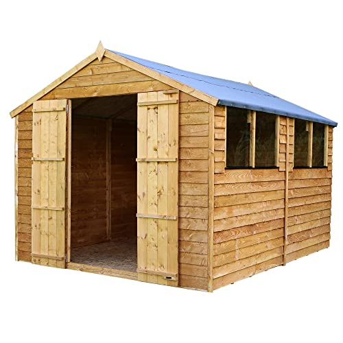 WALTONS EST. 1878 12x8 Wooden Garden Storage Shed, Overlap Construction Dip Treated with 10 Year Guarantee, With Windows, Double Door, Apex Roof, Roof Felt & Floor Included, (12 x 8 / 12Ft x 8Ft) 3-5 Day Delivery