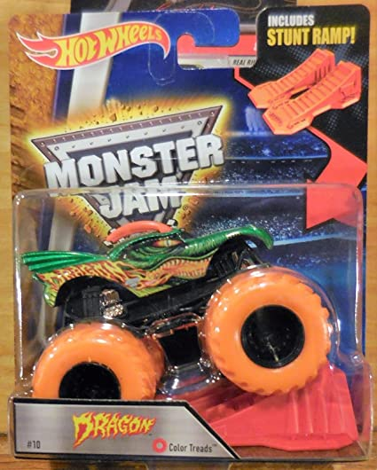 Amazon Com Hot Wheels Monster Jam Dragon Green And Orange Color Treads Wheels Includes Stunt Ramp 10 Rare Everything Else