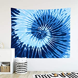 """Tie Dye Tapestry Colorful Rainbow Spiral Pattern Color Dyed Batik Tapestry Home Decor Wall Hanging for Living Room Bedroom (51.2"""" x 59.1"""", Blue)"""