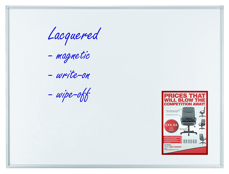 Alurahmen mit Ablageleiste magnethaftend 180 x 120 cm Franken SC2105 Schreibtafel schutzlackiert
