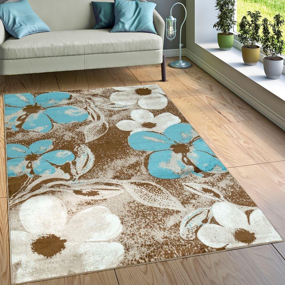 Paco Home Designer Teppich Wohnzimmer Modernes Blumen Muster Braun Creme Türkis, Grösse 200x280 cm