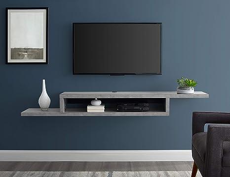Amazon Com Martin Furniture Asymmetrical Floating Wall Mounted Tv Console 72inch Stone Gray 72 Furniture Decor