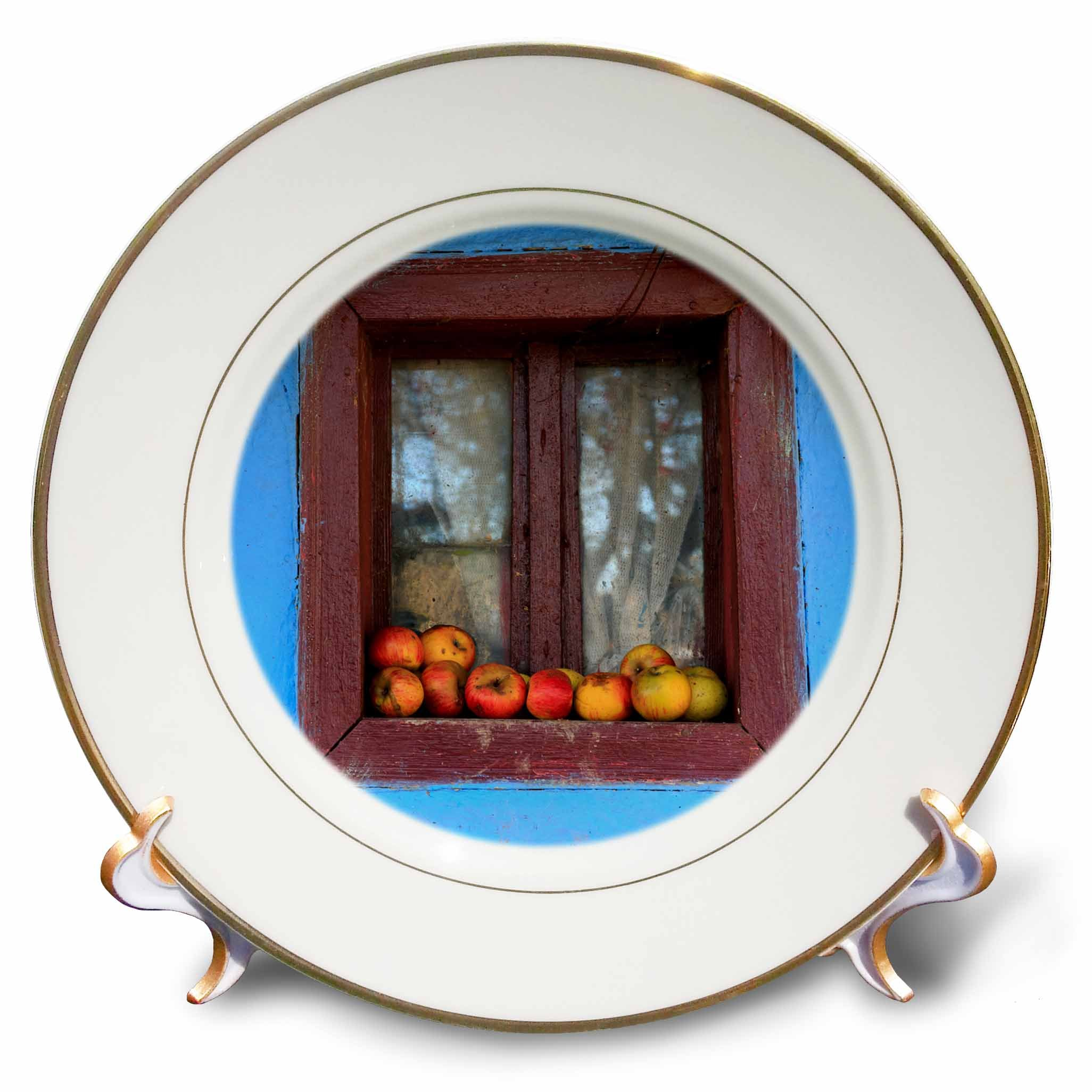 3dRose Danita Delimont - Food - Romania, Dobricu Lapusului. Typical farm house, Window with apples. - 8 inch Porcelain Plate (cp_277876_1) by 3dRose (Image #1)