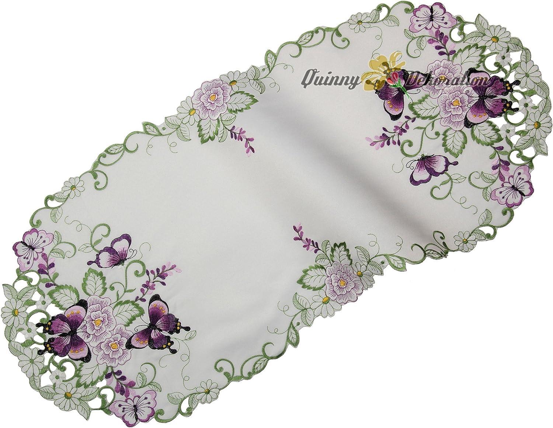 Blanc Quinnyshop Lilas Papillons et Fleurs Broderie Napperon 20 cm Rond Polyester