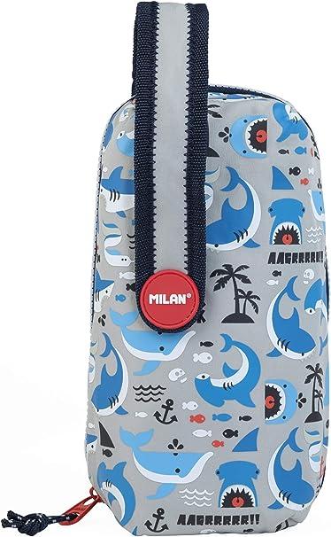 Kit 4 estuches con contenido Shark Attack, gris: Amazon.es: Oficina y papelería