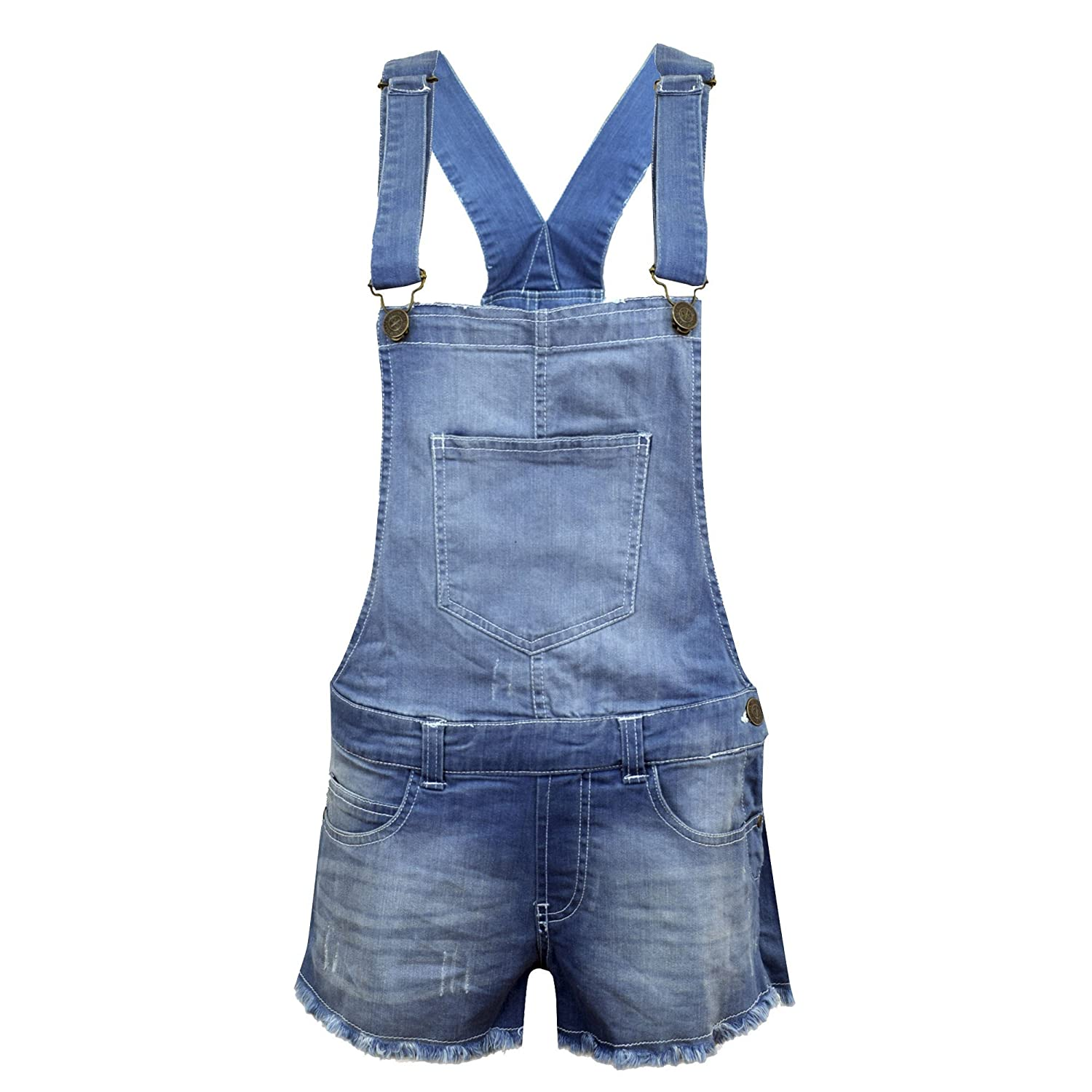 NEW KIDS GIRLS DENIM STRETCH LIGHT WASH PLAYSUIT JUMPSUIT DUNGAREE SHORTS AGE 7-13