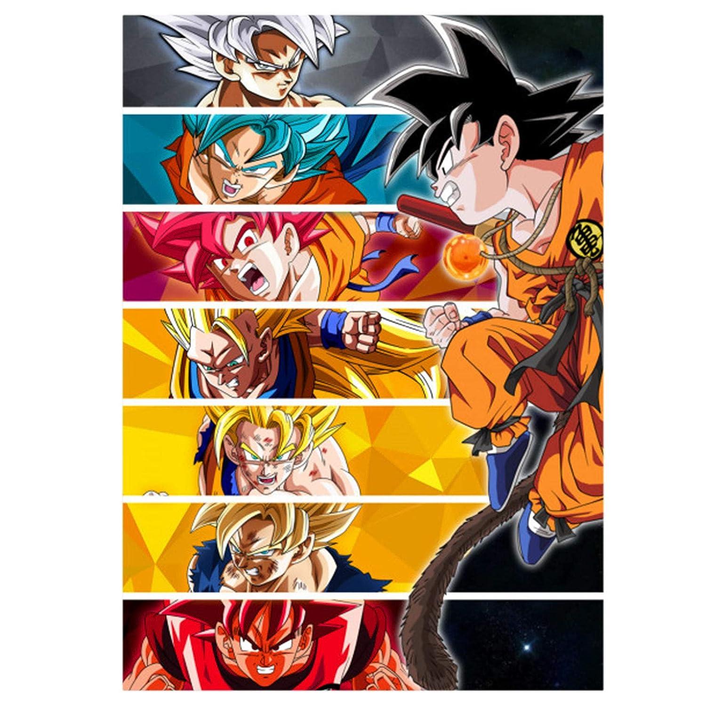 GWD CONCEPT Goku Cartel de Metal para Dragon Ball Fans Mural con imán Adhesivo 45x32cm