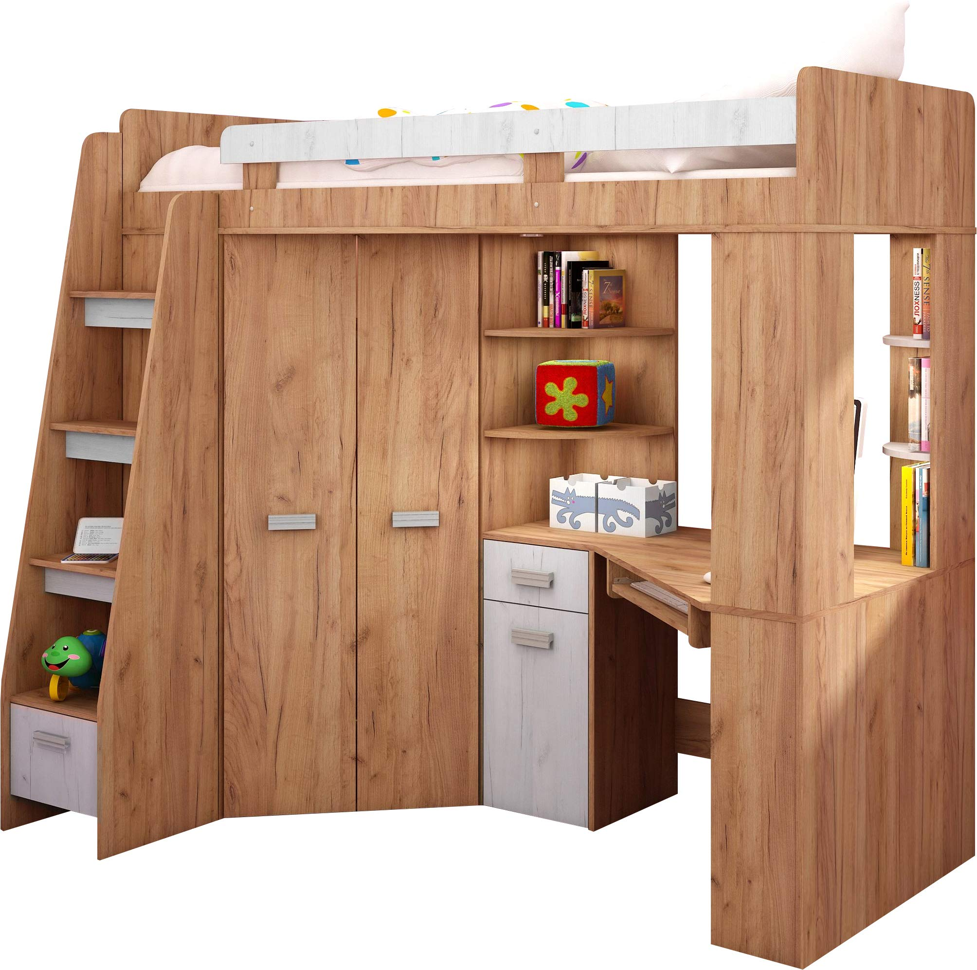 High Sleeper/Bunk Bed - ALL IN ONE Right or Left Hand-side Stairs - Kids/Children Furniture Set. Bed, Wardrobe, Shelves, Desk. (Craft-Gold/Craft-White - Left Hand-side Stairs.)