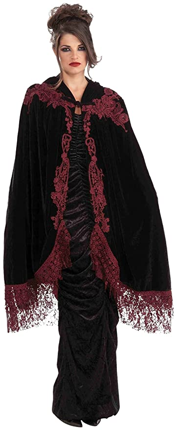 Victorian Clothing, Costumes & 1800s Fashion Forum Novelties Womens 45-Inch Velvet Lace Vampiress Cape $31.62 AT vintagedancer.com