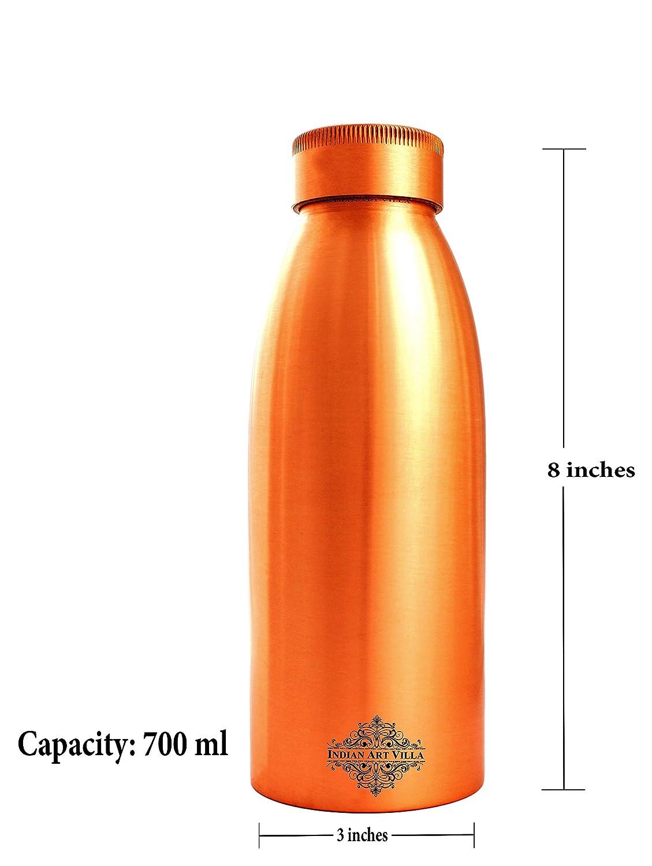 marr/ón cobre puro Botella de agua IndianArtVilla 23.7 Oz dise/ño sin costuras cobre