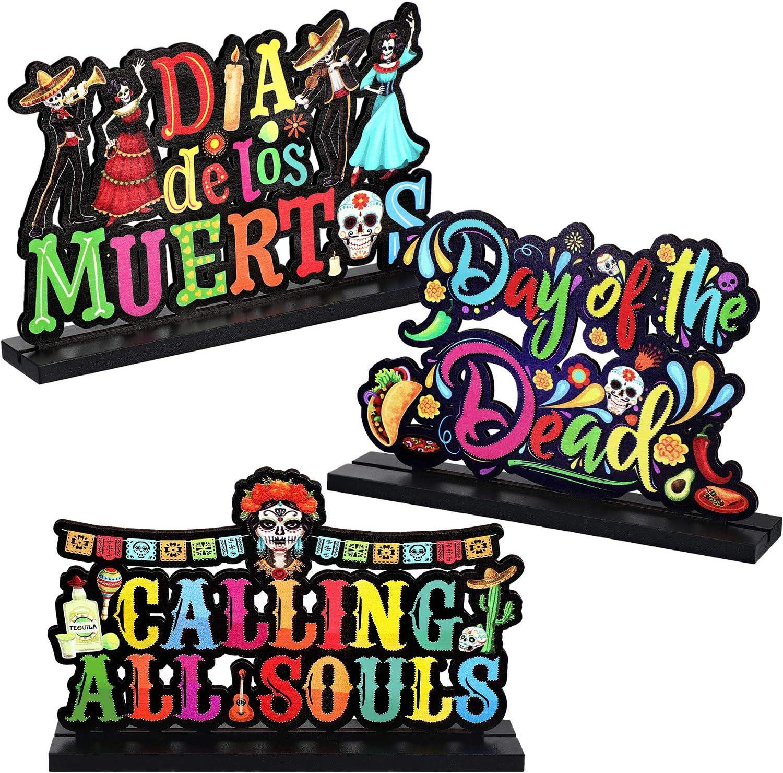 Halloween Table Centerpieces Day of The Dead Decorations Dia de Los Muertos Sugar Skull Signs Happy Halloween Decorations, Mexican Skeleton Skull Wooden Papel Picado Dinner Tier Tray Decor