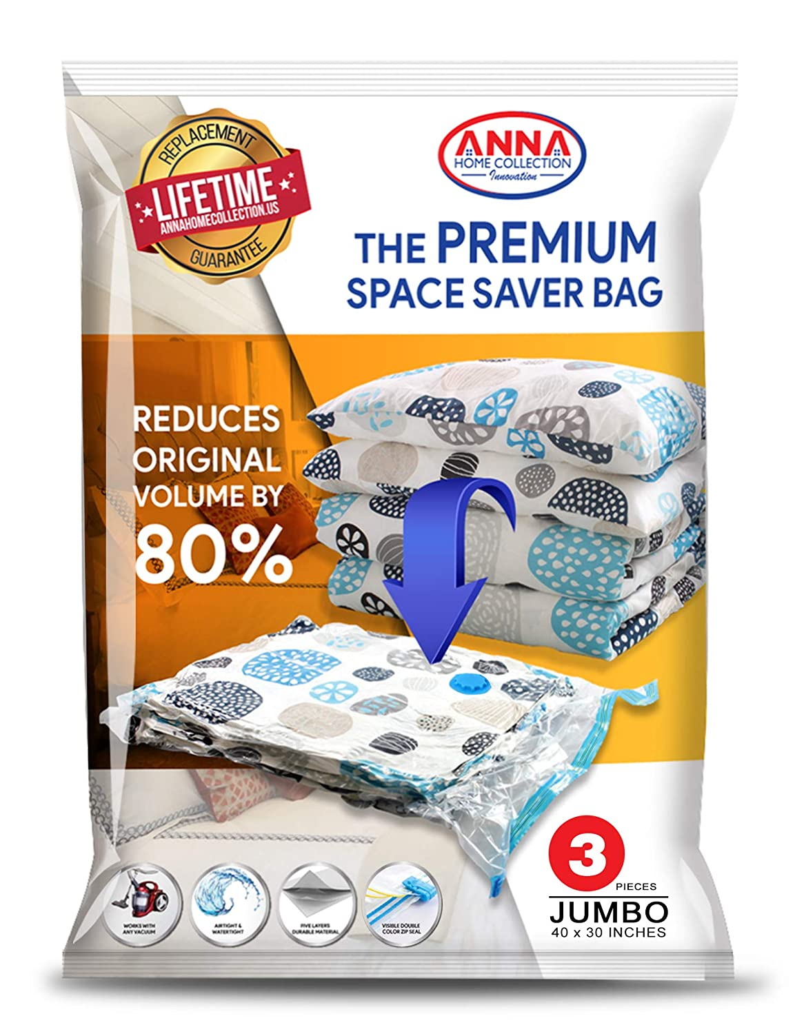 Anna Home Jumbo Vacuum Storage Bags (3 Jumbo) Space Saver Storage Bags. Durable and Reusable Vacuum Sealer Bags for Clothes Storage, Travel Hand Pump Included