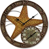 """Springfield 14"""" Starfish Poly Resin Clock with Thermometer"""