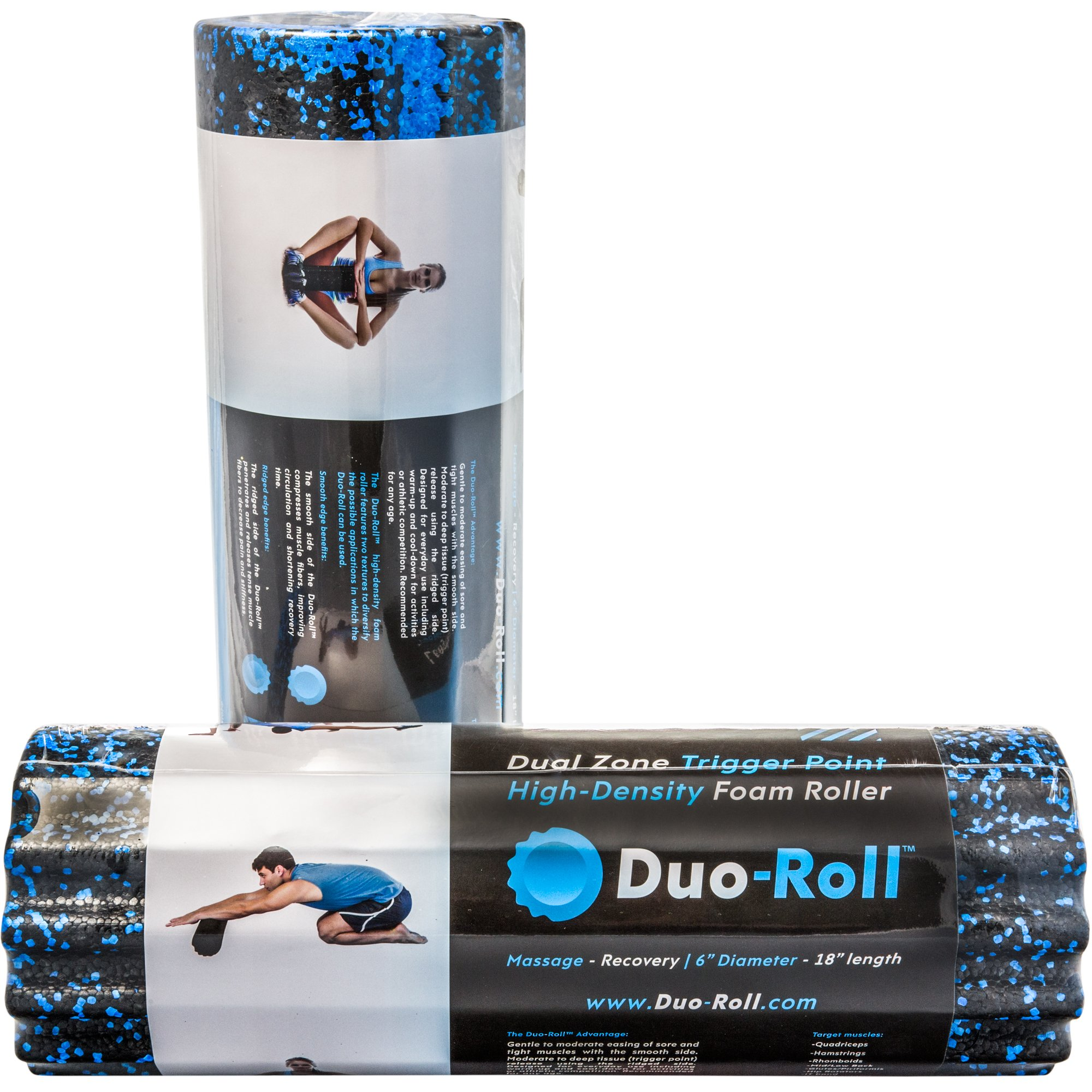 j/fit Duo-Roll High Density Dual Zone Trigger Point Foam Roller | Durable & Ergonomic Construction for Deep Tissue Massage | Smooth Side for Muscle Therapy/Ridged Side for Pain Relief (20-0615)
