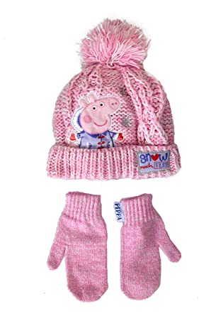 75233add5cc50 Official Licensed Girls Peppa Pig 2 Piece Set Hat Mittens Age 3-6 Years Pink  Snow Much Fun Design  Amazon.co.uk  Clothing