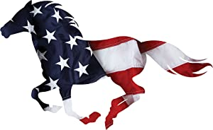 Next Innovations - Allegiance Running Horse - 25 x 10 - Metal Wall Art - Multi-Color - Patriotic - Made in USA - Powder Coated - Steel - Color Infused