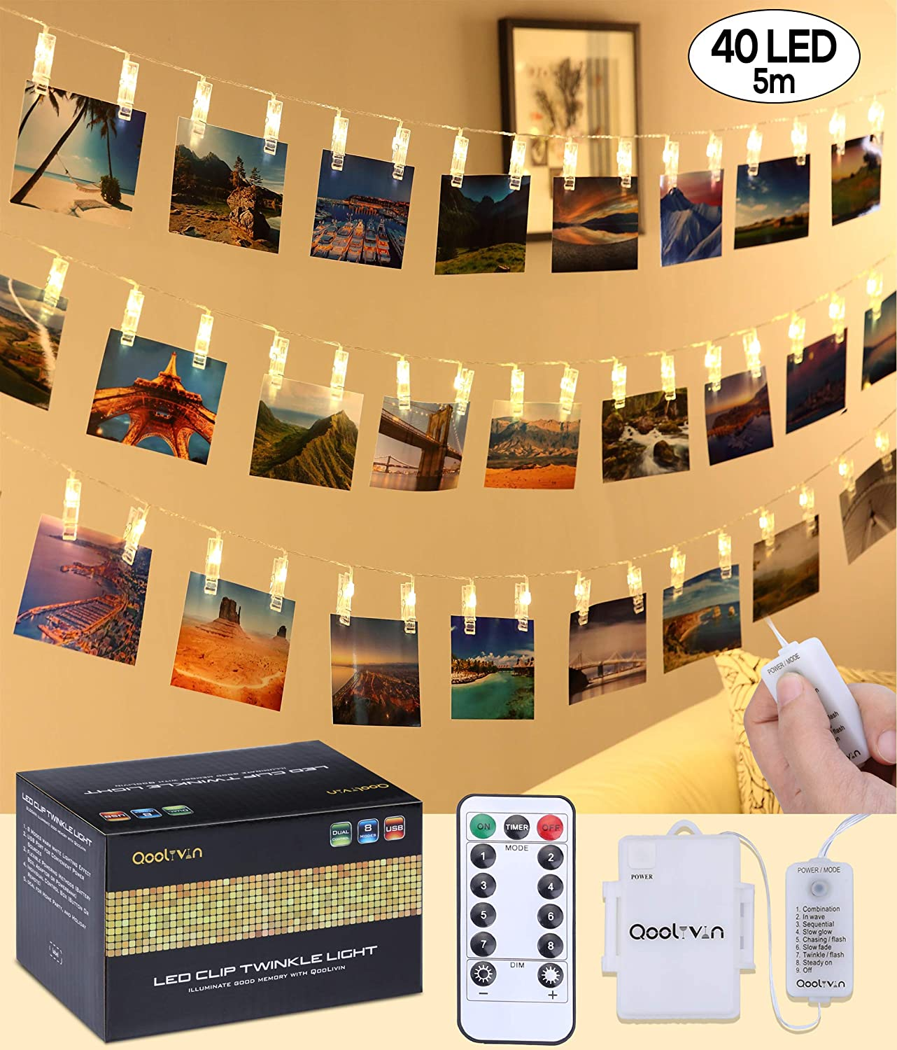 Clips Fairy Lights for Picture Hanging - New Generation Qoolivin 3M 20 LED Clips USB Plug Photo Clips String Battery Powered Peg lights with Remote Control and Battery Box for Wall Room Decoration Alilimall