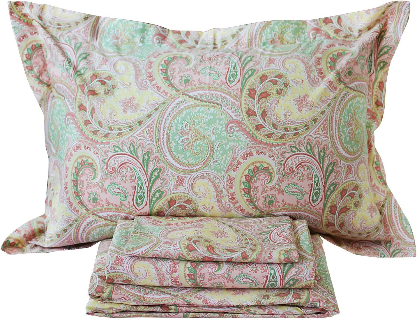 4 Piece Pink Paisley Bed Sheet Set