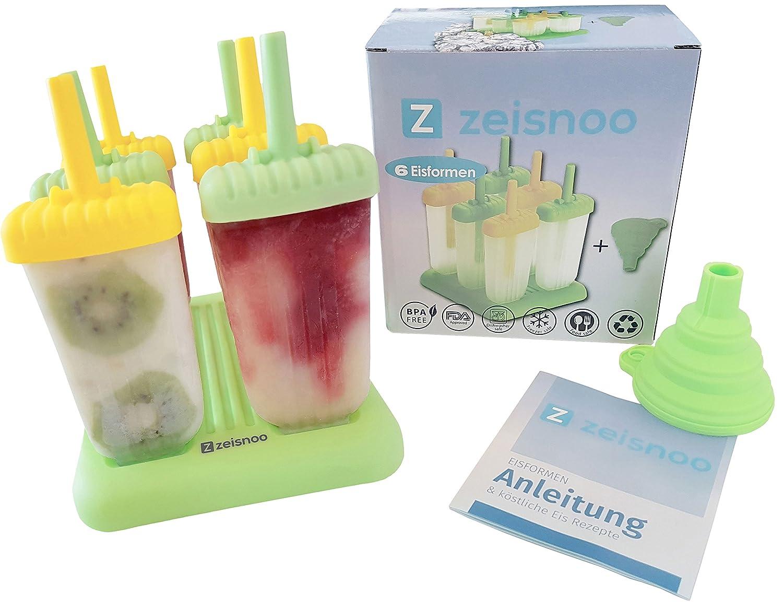 Compra ZEISNOO 6 molde de hielo libre de BPA - libro electrónico gratuito con 50 receta de hielo - Con un embudo para llenar - auto Mach paletas heladas ...