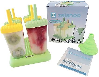 ZEISNOO 6 molde de hielo libre de BPA - libro electrónico gratuito con 50 receta de