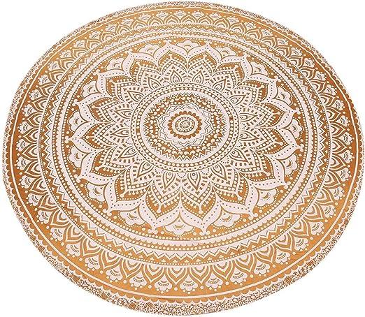 Manta redonda, manta, tapicería Hippy Boho gitana, mantel de algodón, toalla de playa, hoja de picnic estera de yoga: Amazon.es: Hogar