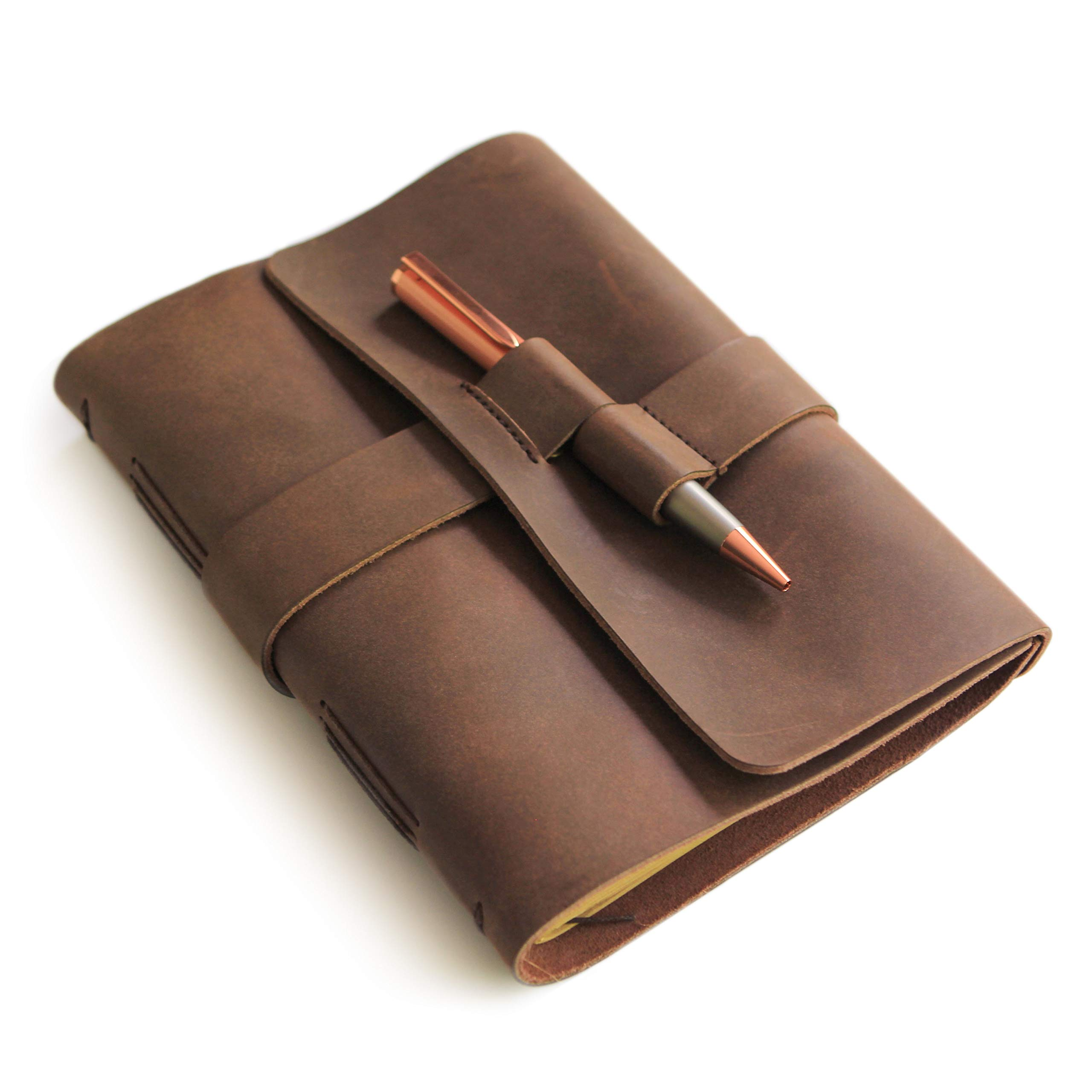 Leather Journal Diary with Premium Rose Gold Pen by Case Elegance