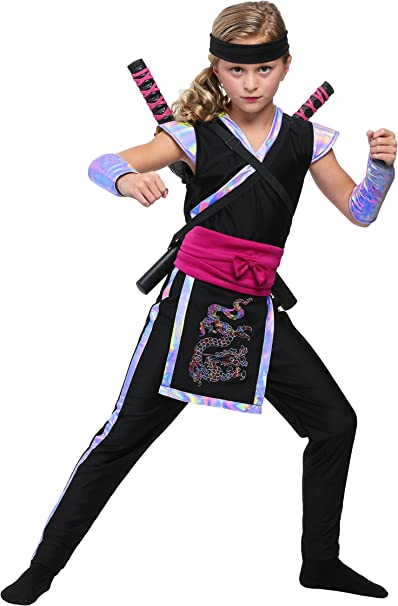 Girls Rainbow Ninja Costume