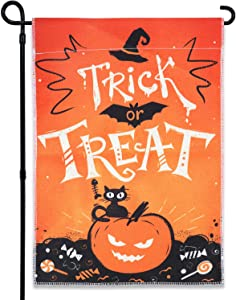 GEGEWOO Trick or Treat Happy Halloween Burlap Garden Flag, Double Sided, Cute Black Cat and Pumpkin Orange and Black Halloween Yard Outdoor Indoor Decorations 12 x 18 Inch