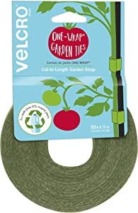 VELCRO Brand VEL-30071-USA ONE-WRAP Garden Ties | Plant Supports for Effective Growing | Strong Grips are Reusable and Adjustable | Cut-to-Length, 50 ft x 1/2 in, Green-Recycled Plastic