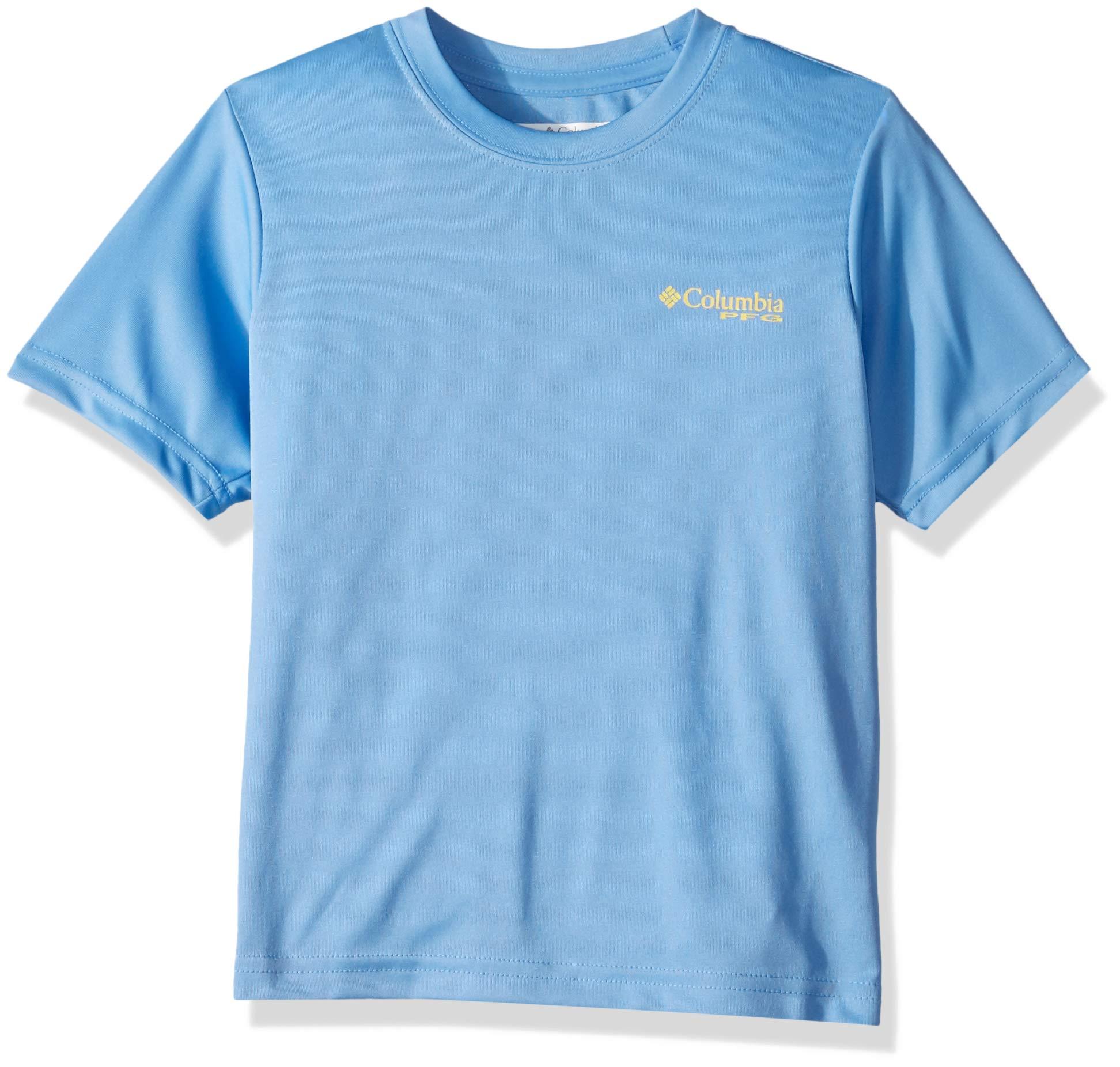 Columbia Boys PFGOffshore Short Sleeve Shirt, White Cap Graphic Compass, Small