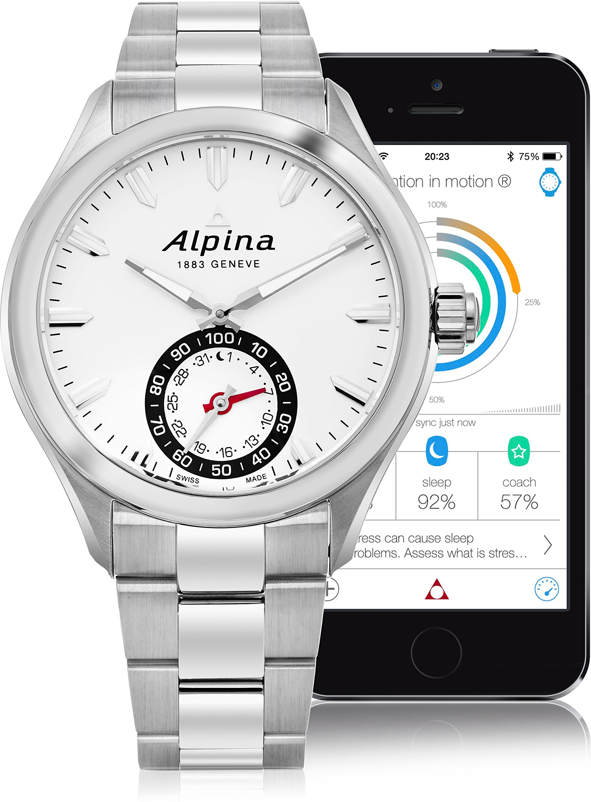 Alpina Men's AL-285S5AQ6B Horological Smart Analog Display Swiss Quartz Silver Watch by Alpina (Image #2)