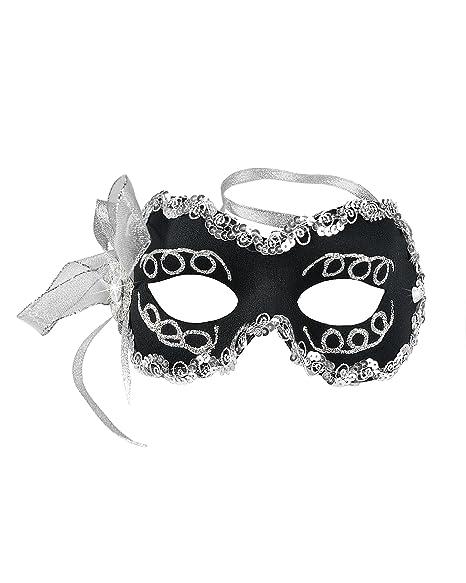 cb0db5410d7c Amazon.com: Black Masquerade Mask Silver Glitter Sequins Eye Mask Mardi Gras  Costume Ideas Sizes: One Size: Clothing