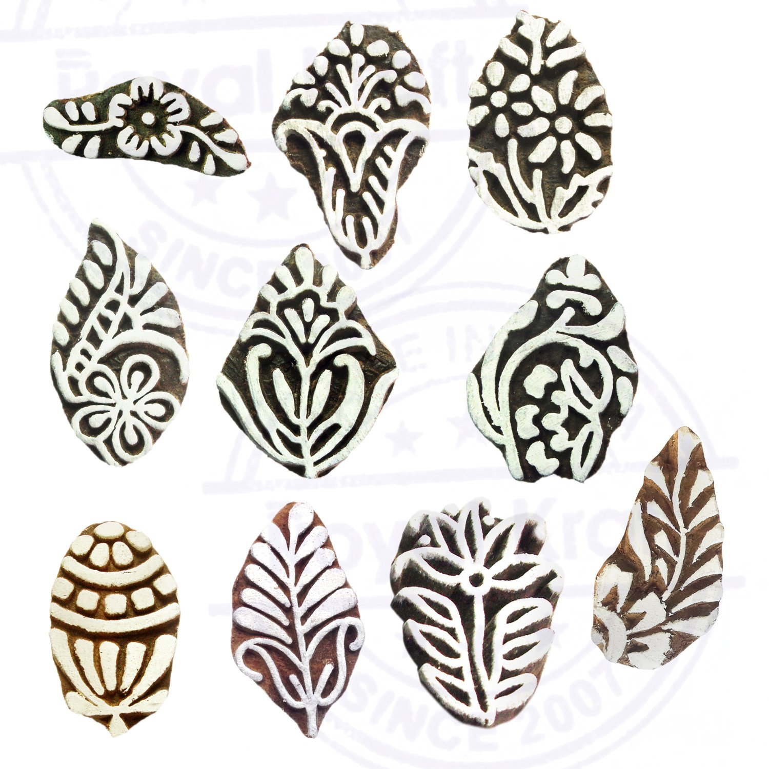 Royal Kraft Small Leaf Pattern Wooden Stamps Fabric Block Printing Htag2126 Paper Prints to Make Body Tattoos Set of 10