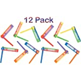 """Ratchet Noise maker Plastic 2.5"""" X 2.5"""" - Pack Of 12 – Assorted Bright Colors Noisemakers – For Kids Great Party Favors, Bag Stuffers, Fun, Toy, Gift, Prize, Piñata Fillers – By Kidsco"""