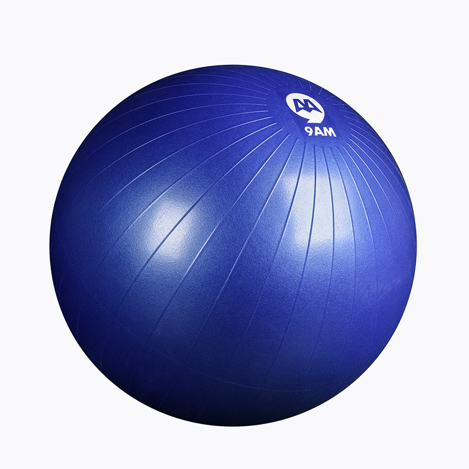 9AM Anti Burst Exercise Ball for Yoga Core Strength Balance Stability Fitness and Desk Chair/Slip Resistant Supports 2500lbs / with Foot Pump n Workout Guide 65cm Blue