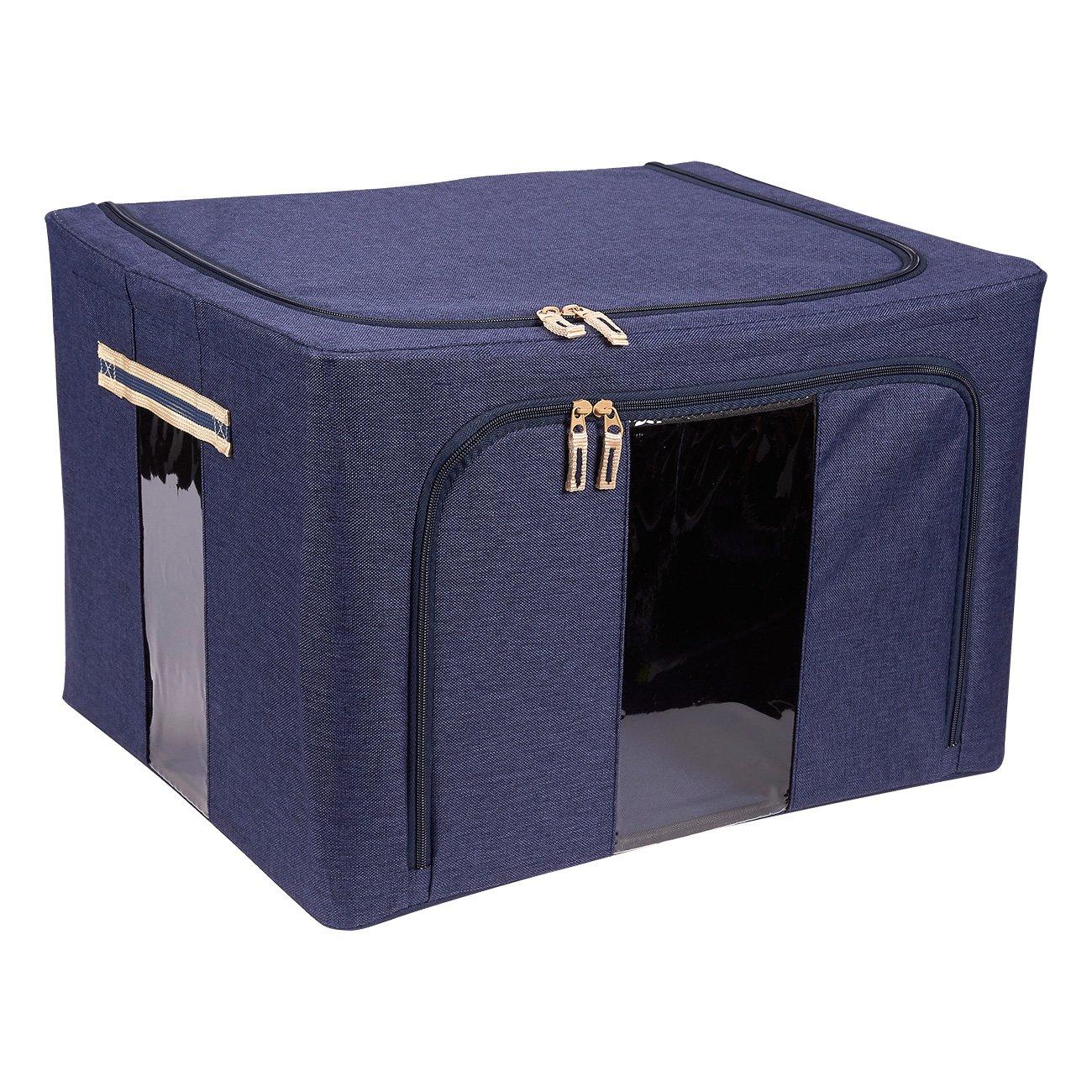 折りたたみ可能な収納箱 - 折りたたみ式積み重ね可能な収納ボックス、ハンドル付きキューブ、ダブルジッパー、クリアな窓 - 衣類、ブランケット、おもちゃ、家庭用品オーガナイザー - ネイビーブルー、19.5 x 13 x 15.5インチ。   B073QQBWKD