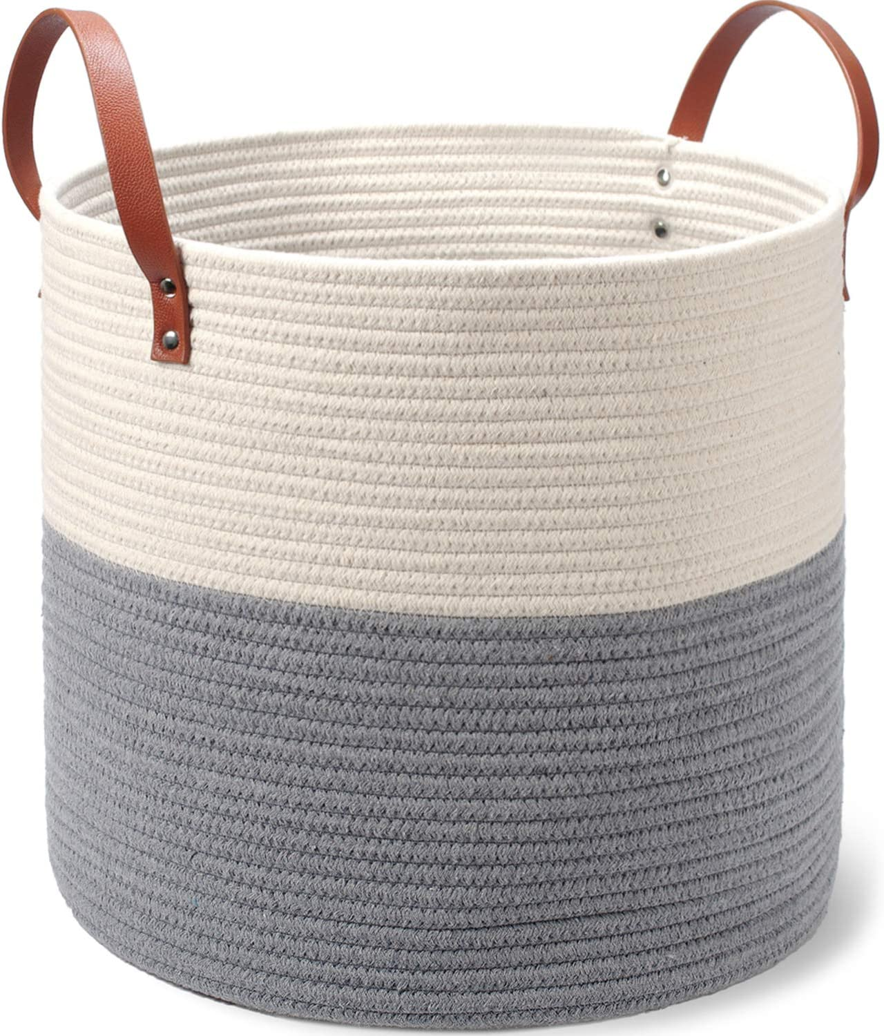 Two-Tone Coiled Cotton Rope Basket - Large Size, 15 x 15 x 14 Inch - Decorative Woven Storage Basket for Laundry Clothes, Toys, Blankets, Pillows