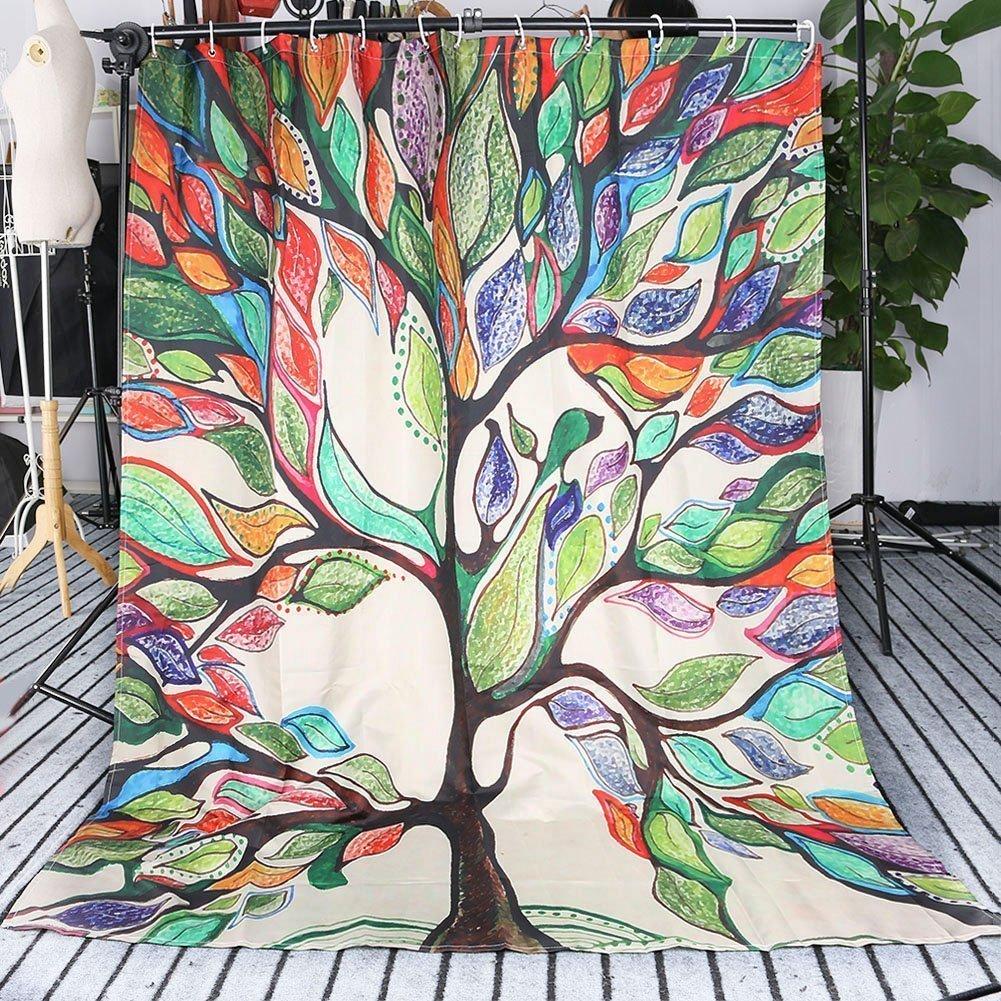 Hansemay Bathroom Shower Curtain Waterproof Mildew Set Tree of Life Gorgeous Like Leather Fabric (150×180cm)