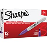 Sharpie Permanent Markers, Fine Point, Purple, 12-Pack (30008)