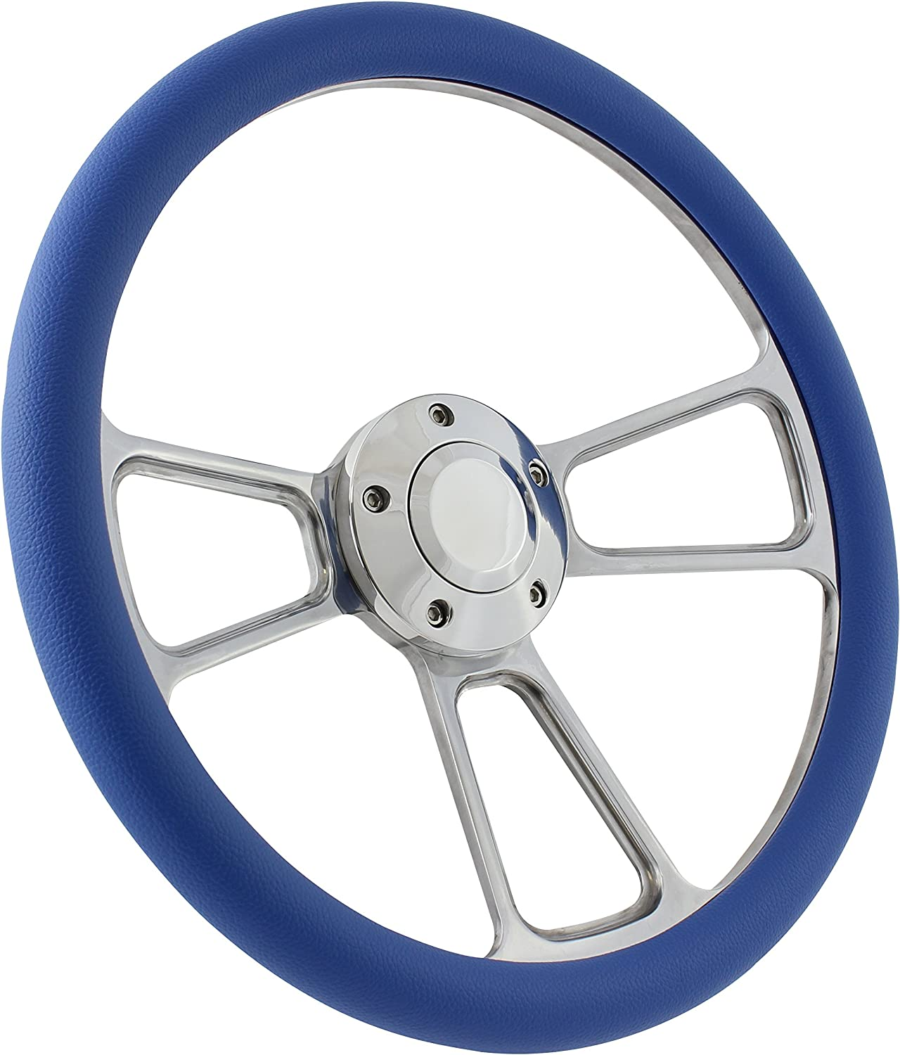 5-bolt Steering Wheel 14 Inch Aluminum with Black Wrap and Horn