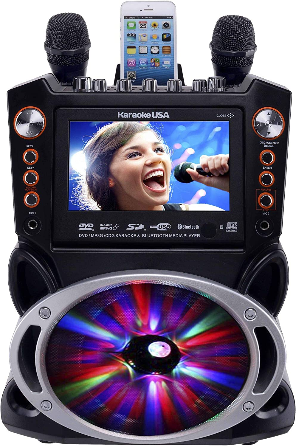 "Karaoke USA GF846 DVD/CDG/MP3G Karaoke Machine with 7"" TFT Color Screen, Record, Bluetooth and LED Sync Lights"