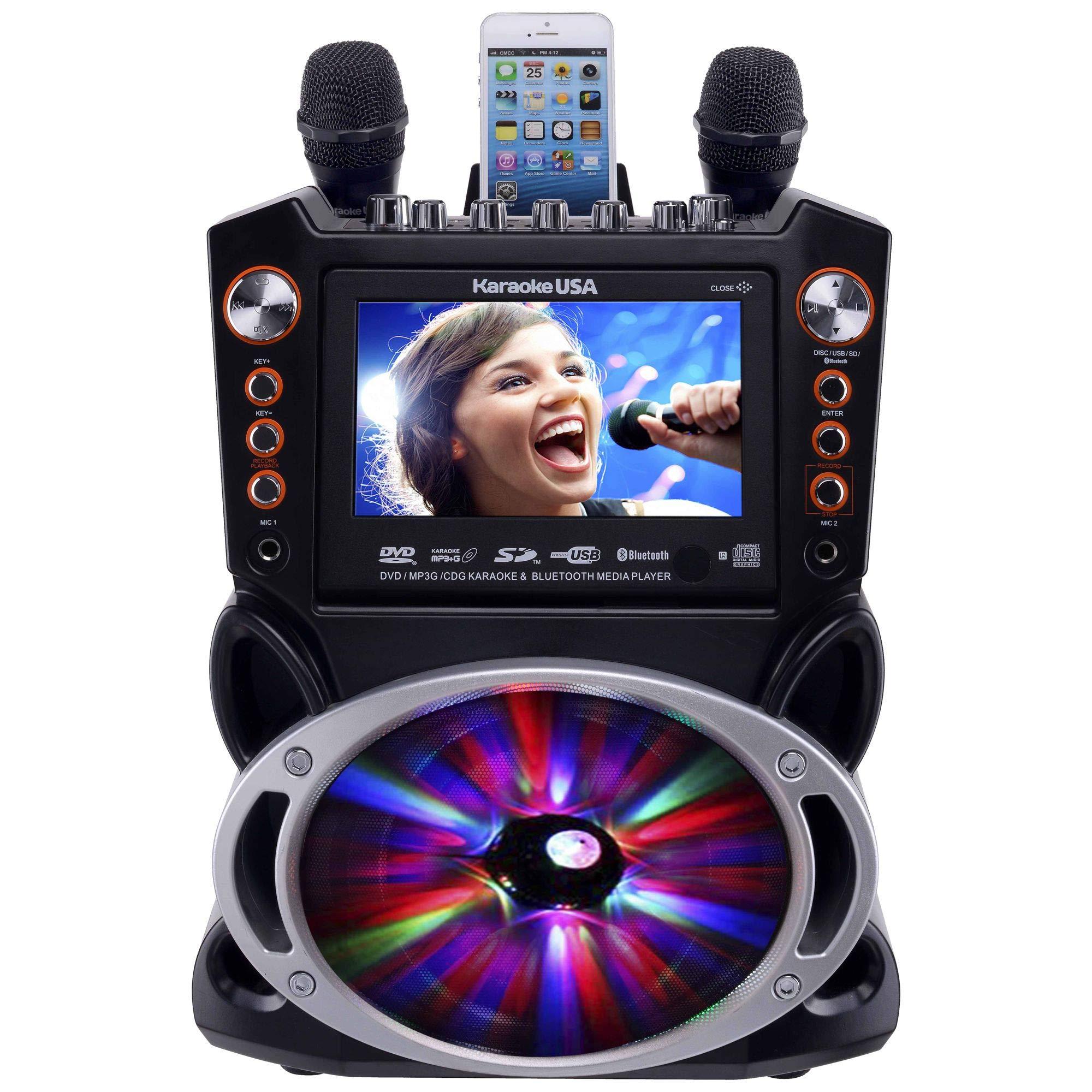 Karaoke USA GF846 DVD/CDG/MP3G Karaoke Machine with 7'' TFT Color Screen, Record, Bluetooth and LED Sync Lights by Karaoke USA (Image #1)