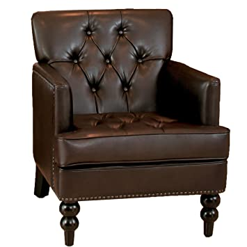 brexley leather club chair recliner antique vintage chairs and storage ottoman brown