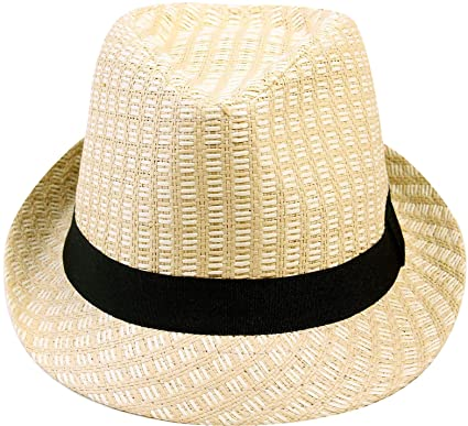 EPGU Men Women s Bohemian Summer Straw Fedora Hat w Contrast Hat Band 5bed5d18705